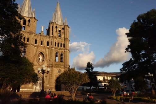 Cathedral in central plaza (Jardin, Colombia)