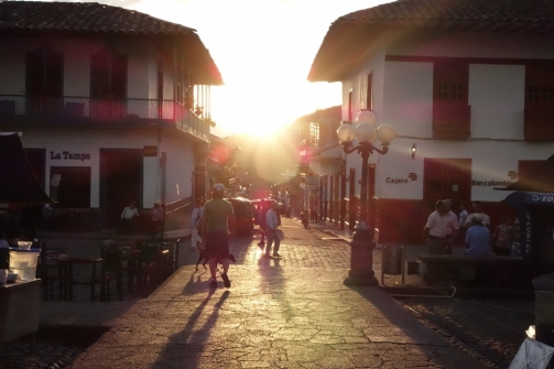Sunset over the central plaza (Jardin, Colombia)