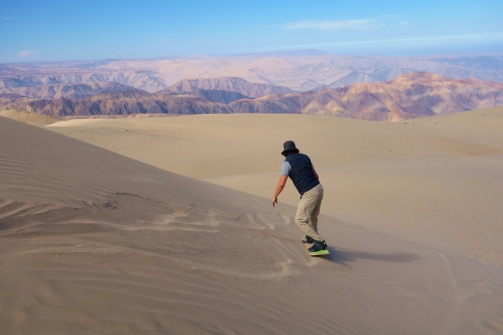Sandboard practice on Cerro Blanco