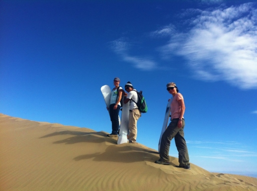 Climbing up the sand dunes on Cerro Blanco