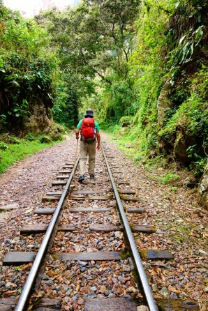 Railroad tracks leading from the Hydroelectric station to Aguas Calientes - Salkantay Trek