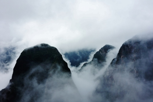 Cloud-covered mountains near Machu Picchu