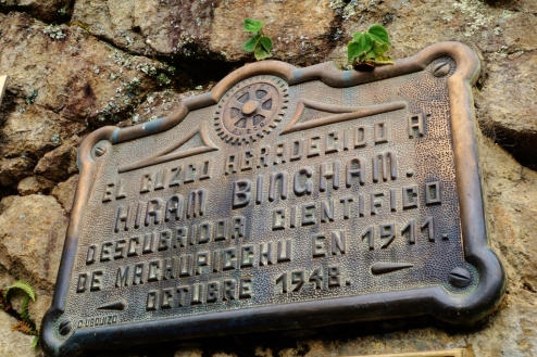 Plaque of Hiram Bingam at Machu Picchu