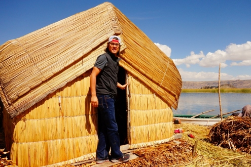 Huts on Uros floating reed island