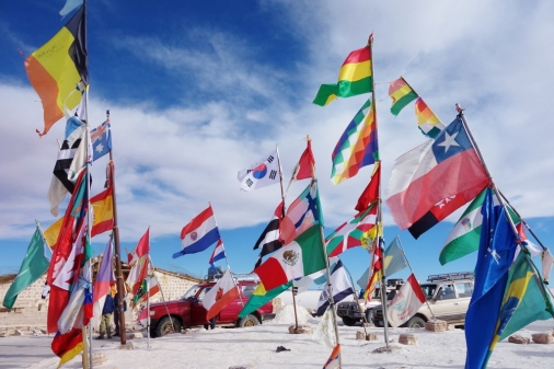 Country flag in Salar De Uyuni