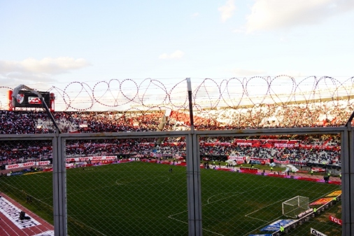 Fenced-in seating area in River Plate Stadium