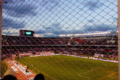 The fenced in seating in River Plate Stadium