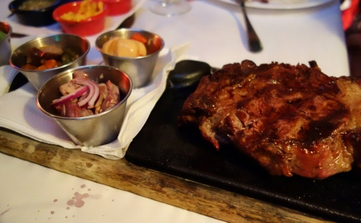 Ribeye steak (cooked medium) at La Cabrera