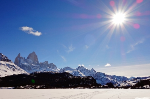 View of Fitz Roy on Lago Capri