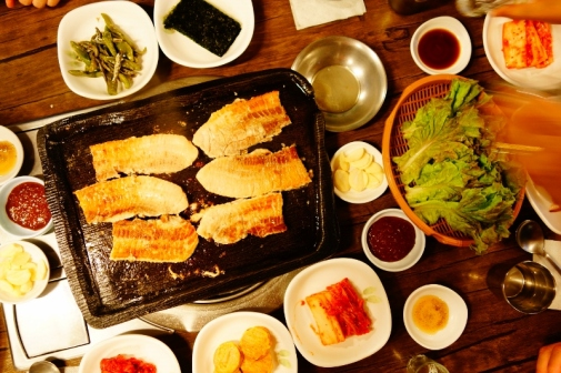 Korean BBQ and banchan (little side dishes)