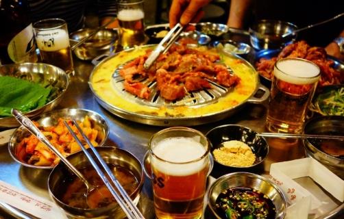 Korean BBQ grill house in Mapo district, Seoul, South Korea