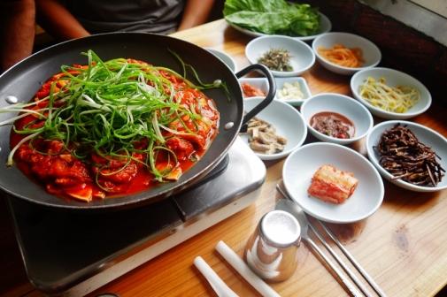 Spicy pork & ssam (Jeju Island, South Korea)