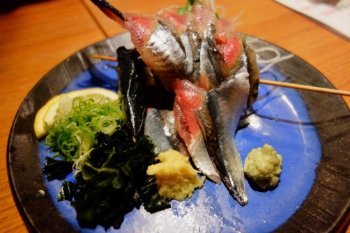 Whole mackarel sashimi (Tokyo, Japan)