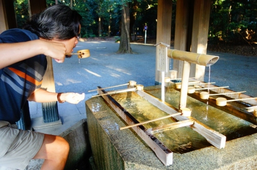 Water basin in front of the Meiji Shrine, Tokyo, Japan