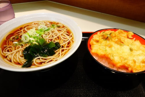 Soba noodles in broth & deep fried oyster fritter over rice (Tokyo, Japan)