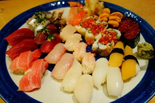 Platter of sushi (Akasaka district, Tokyo, Japan)