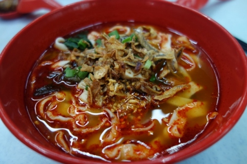 Spicy beef noodle soup at Petaling Street