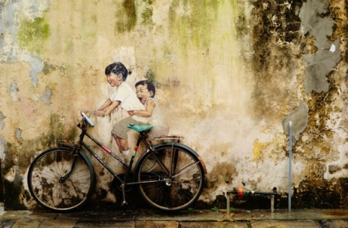 Bike-themed street art (George Town, Malaysia)