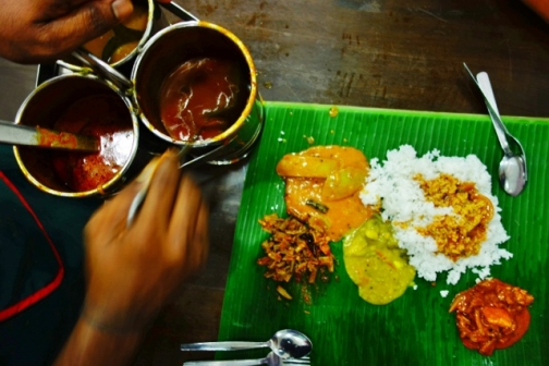 Banana leaf set at Veloo Villas (George Town, Malaysia)