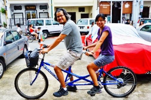 Tandem biking in George Town, Malaysia