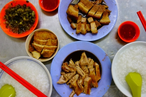 Congee breakfast in George Town (Penang, Malaysia)